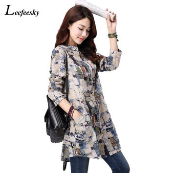 Women Tops 2016 New Autumn Casual Printed Cotton Linen Long Sleeve Women Blouses Blusas Vintage Shirt Long Tunic Tops for Women
