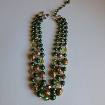 3 Layered Tier Green Bead Choker Necklace Vintage