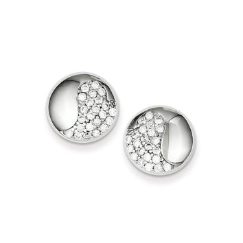 Sterling Silver Rhodium Plated CZ Yin Yang Post Earrings