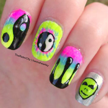 Neon Fluorescent False Nails, Yin Yang, Paint Drips, Tie Dye, Alien, Fake, Press On Hand Painted Nail Art