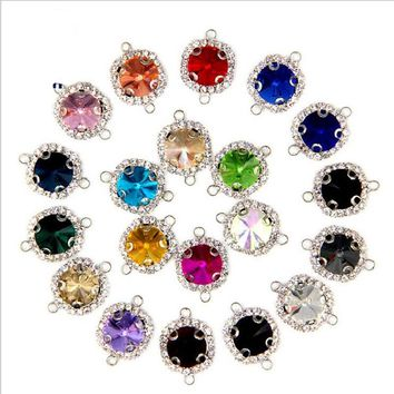 10pcs Double Holes Bracelet Connector Clasps, Glass Crystal Rhinestone Connector for DIY Charms Bracelet Necklace Jewelry Making