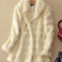Faux Fur Long-Sleeve Coat