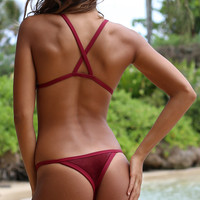 Posh Pua 2016 Velvet Kainalu Bottom in Rouge- Small