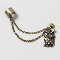 Gold Owl Ear Cuff with Gold Stud Earring and Chain – Claire's