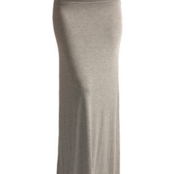 Fold Over Light Grey Maxi Skirt