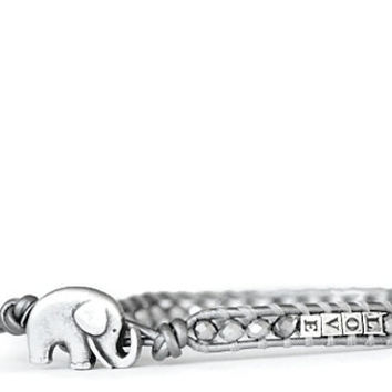 LOVE & LUCK... Personalized Valentine's Day Beaded Leather Wrap Bracelet - the lucky elephant Original with Sterling Silver Letter Beads