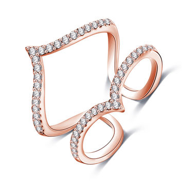 New Design Womens Finger Ring 18K Rose Gold /Platinum Plated Micro Inlay CZ Diamond Double V Shaped Party Jewelry CRI1030