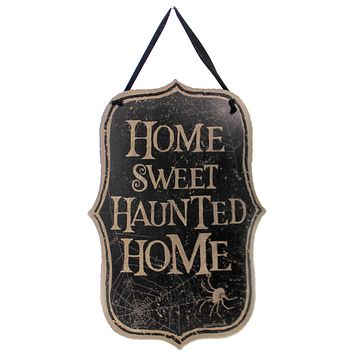 Halloween HOME SWEET HAUNTED HOME PLAQUE Wood Wall Sign Spider Web 100802.