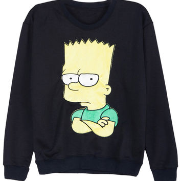 ROMWE | ROMWE Simpson Stitching Long-sleeved Black Sweatshirt, The Latest Street Fashion