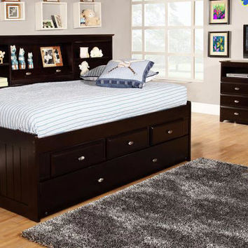 Huntington Twin Size Big Bookcase Storage Bed