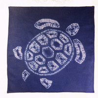 Blue mens pocket square Cotton shibori handkerchief Tie-dye turtle Unique hankie One-of-a-kind cotton handkerchief Fashionable accessory