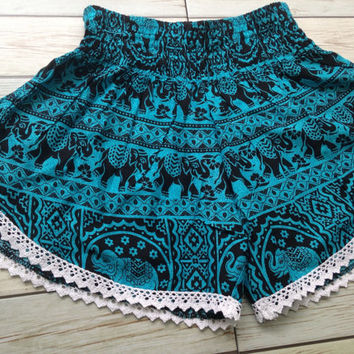 High waisted Lace Shorts Elephants Boho Print Summer Chic Fashion Trim Tribal Aztec Ethnic Clothing Bohemian Ikat Cloth Hobo Blue Beach