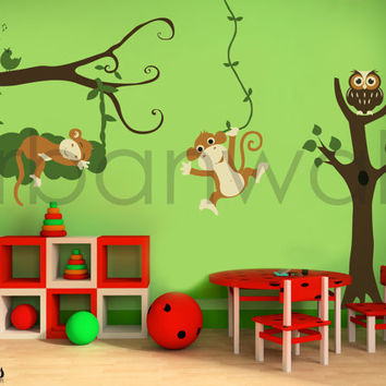 Vinyl Wall Sticker Decal Art - Monkey See Monkey Do
