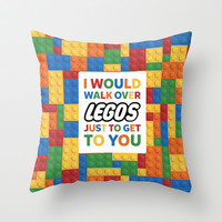 I'd walk over Legos Throw Pillow by Nico Zahlut
