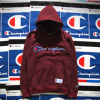 Champion Hooded men and women who dress thickening couple costume Wine red