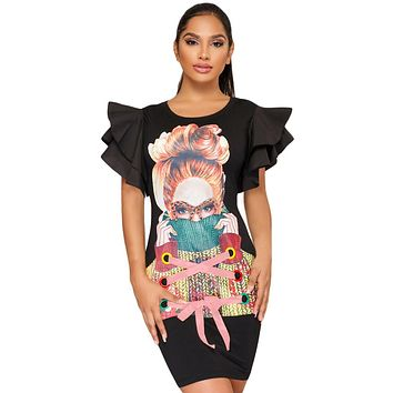 Ruffle Sleeves Graphic T-shirt Dress in Black