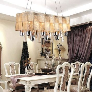 European Luxury Vintage Modern Rectangular K9 Crystal Dinning Room Chandelier Li