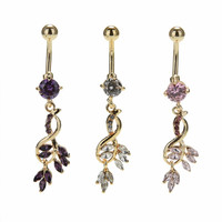 Sexy Leaf Dangle Navel Bar Ring Gold   Silver Plated Piercing Jewelry surgical steel belly button rings SM6