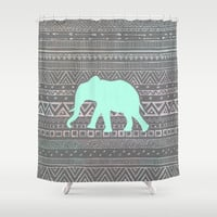 Mint Elephant  Shower Curtain by Sunkissed Laughter