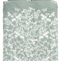 Cotton duvet cover set - Dusky green/Floral - | H&M GB