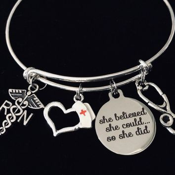 RN Pinning Ceremony Jewelry Nurse She Believed She Could Adjustable Bracelet Silver Expandable Charm Bangle One Size Fits All Gift Registered Nurse Graduation