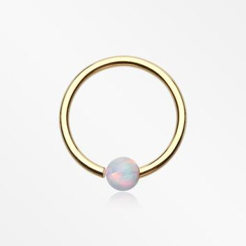 Golden Fire Opal Basic Bendable Twist Hoop Ring