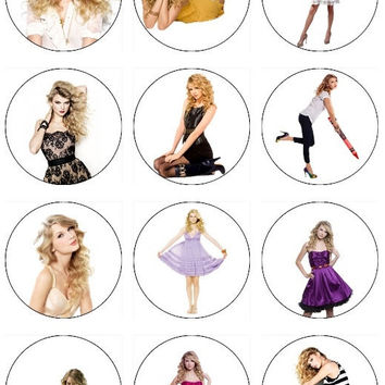Edible TAYLOR SWIFT Cupcake Toppers 12 edible images for Cupcakes, cookies, brownies or any dessert birthday