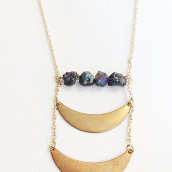 Double Moon Crescent Gold Long Necklace with Rainbow Titanium Quartz Crystal Nugget Beaded Bar