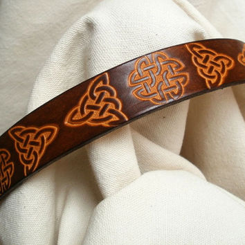 "Dog collar with Celtic design, leather, 1"" wide, tan and brown, hand tooled Celtic knots with triquetra"