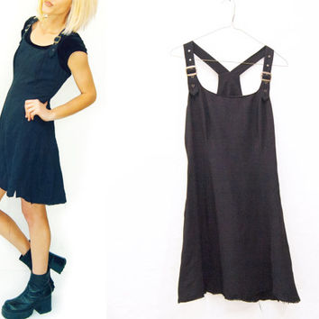 Total 90s Black Mini Overall Skater Dress /  Overalls Dress / Bib Dress /  Dungarees / 90s / romper jumpsuit  / size small