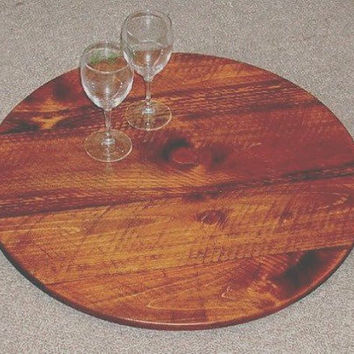 Lazy Susan...36IN Wine Barrel Look...Made from Wine Barrel Staves...Handmade