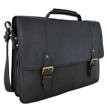 """Hidesign Charles Large Double Gusset Leather 17"""" Laptop Compatible Briefcase Work Bag"""