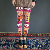 Abstract print leggings in ornament // geometric pattern, pants - made to order in size S M L XL