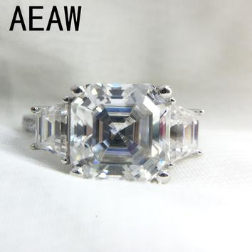 3 Carat Asscher Cut Moissanite Lab Diamond Ring Set DEF Color Excellent Matching Band Ring For Women Solid 14K White Gold