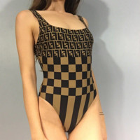 Fendi Women Slim backless one-piece bathing suit Bikini