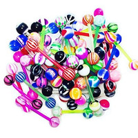 Tongue Ring Assorted Flexible Lot of 100 Piercing Barbells 14 Gauge