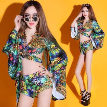 CREYONRZ (top+shorts) female costume sets print dress nightclub sexy women DS new dance bar singer DJ stage singer hollow show party
