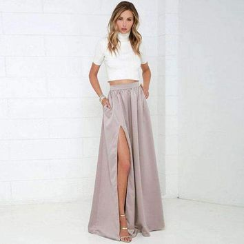 ICIKON3 Elegant Women Long Skirt with Pockets Classy Pretty Maxi Skirt with Slits Floor Length A Line Female Skirt for Ladies to Office