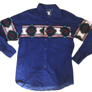 Vintage Wrangler Shirt Button down Mens tshirt Blue Aztec oxfords