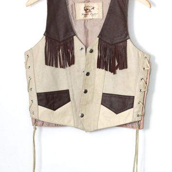 Vintage Southwestern // Two Tone Genuine Leather Fringe Vest // Moto Vest // Mexico Made // Beige Tan Brown // One Size / Small Medium Large
