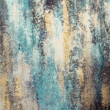 2111 Blue Abstract Contemporary Area Rugs