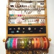 Jewelry Holder DELUXE, 20 Ring Holder, Bangle Bracelet Rod, 54-108 Earring Pairs, 11 Necklace Pegs Pegs, Honey Stain, Oak Wood, Hanging