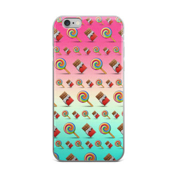 Lollipop & Chocolate Bar Emoji Collage Teen Cute Girly Girls Tie Dye iPhone 4 4s 5 5s 5C 6 6s 6 Plus 6s Plus 7 & 7 Plus Case