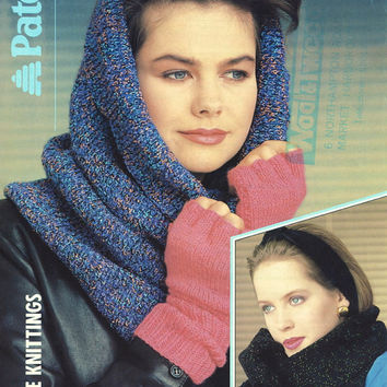 1980's Knitting Pattern. Original Patons Leaflet. Scarf, Infinity Scarf / Hood, Fingerless Gloves, Headband Or Gloves With Pompons.