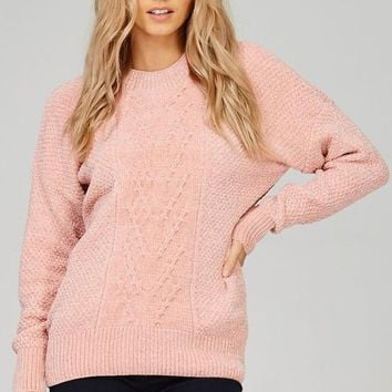 chunky knit chenille sweater with pattern