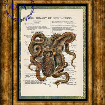 Deep Brown Ocean Octopus Art - Vintage Dictionary Page Art Print Upcycled Page Print, Sea Life Print