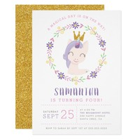 Magical Unicorn Princess | Pink & Gold Birthday Card