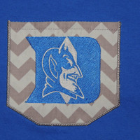 Duke Blue Devil pocket T-shirt, Duke shirt, Duke Blue Devil shirt, Pocket Tshirt
