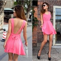 Lovely anf Sexy backless pure color condole of tall waist dress