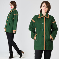 70s Forest Green Coat / Green & Camel Wool Faux Leather Trimmed Jacket Coat / Retro Cute Winter Large L Coat